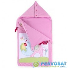 Спальный конверт Luvena Fortuna розовый многофункциональный с рисунком слоненка (G8988)
