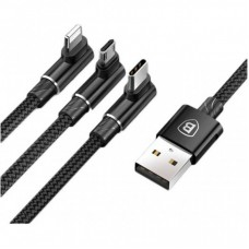 Дата кабель Baseus USB 2.0 AM to Lightning + Micro 5P + Type-C 1.2m MVP 3-in-1 (CAMLT-WZ01)