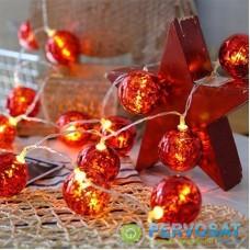Гирлянда ColorWay Светодиодная Christmas lights ball 6 см 10 LED 1.5 м USB Red (CW-MC-LB10U)
