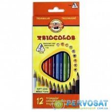 Карандаши цветные KOH-I-NOOR 3132 Triocolor, 12шт, set of triangular coloured pencils (3132012004KS)
