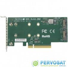 Плата расширения Supermicro PCIe x8 до SSD 2x m.2 NVMe (AOC-SLG3-2M2)