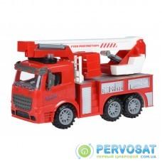Same Toy Машинка инерционная Truck Пожарная машина с подъемным краном со светом и звуком