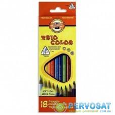 Карандаши цветные KOH-I-NOOR 3133 Triocolor, 18шт, set of triangular coloured pencils (3133018004KS)