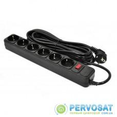Сетевой фильтр питания PATRON 5.0 m, 3*1.5mm2 (SP-1665) 6 розеток BLACK (EXT-PN-SP-1665)