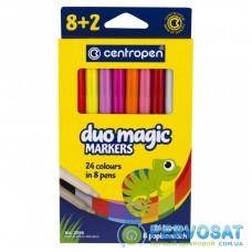 Фломастеры Centropen 2599 Duomagic, 10шт (8 tones + 2 different erasers) (2599/10)