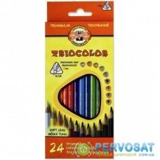 Карандаши цветные KOH-I-NOOR 3134 Triocolor, 24шт, set of triangular coloured pencils (3134024004KS)