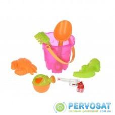 Same Toy Набор для игры с песком Ведерко розовое (7 ед.)