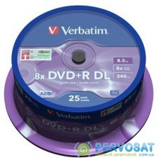 Диск DVD Verbatim 8.5Gb 8x CakeBox 25шт Matt Silver (43757)