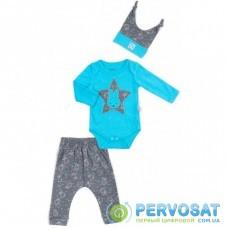 Боди Miniworld со штанишками и шапочкой с зайчиком (15013-74B-blue)