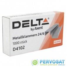 Скобы для канцелярского степлера №24/6, up to 30 sheets, 1000 шт Delta by Axent (D4102)