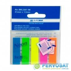 Стикер-закладка Buromax Plastic bookmarks 45x12mm, 5х20шт, rectangles, neon colors (BM.2301-98)
