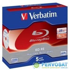 Диск BD Verbatim BD-RE 25Gb 2x Jewel 5шт Hard Coat (43615)