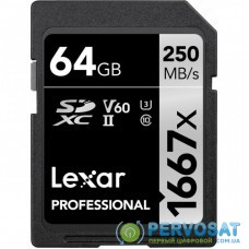 Карта памяти Lexar 64GB SDHC class 10 UHS-II 1667x (LSD64GCB1667)