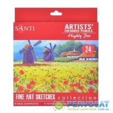 Карандаши цветные Santi Highly Pro 24 шт (742391)