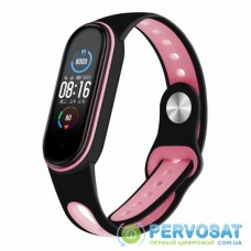 Ремешок для фитнес браслета BeCover Sport Style для Xiaomi Mi Smart Band 5 Black-Pink (705167)