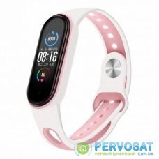 Ремешок для фитнес браслета BeCover Sport Style для Xiaomi Mi Smart Band 5 White-Pink (705174)
