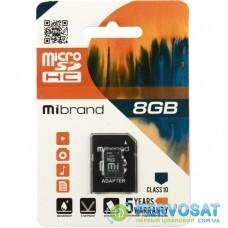 Карта памяти Mibrand 8GB microSDHC class 10 (MICDHC10/8GB-A)