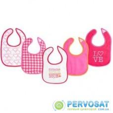 Слюнявчик Luvable Friends 5 шт для девочек с надписями, розовый (2189-pink)