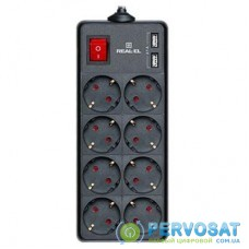Сетевой фильтр питания REAL-EL REAL-EL RS-8 PROTECT USB, 1.8m, black (EL122300019)